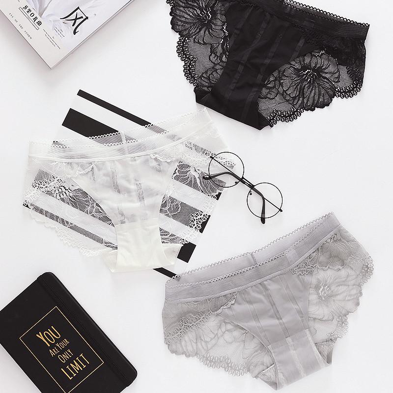 六只兔子三送一蕾丝边内裤女性感镂空透明刺绣三角内裤薄款夏冰丝
