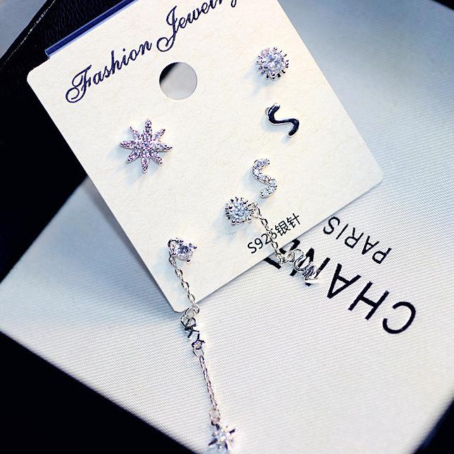 新款雪花星形六只套组小耳钉时尚韩版小饰品925纯银针 88275