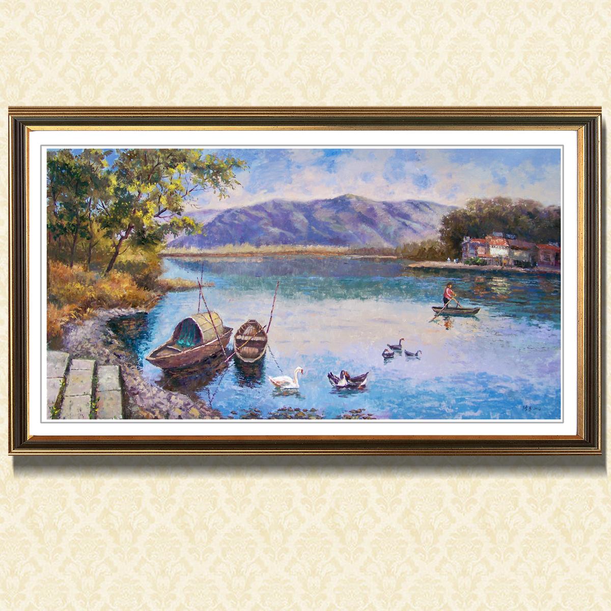 寫生《湖上放歌》油畫手繪風景寫實抽象原創印象派美院客廳裝飾畫