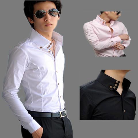春季新品男装纯色韩版修身白色高领长袖衬衫男潮流正装休闲衬衣潮