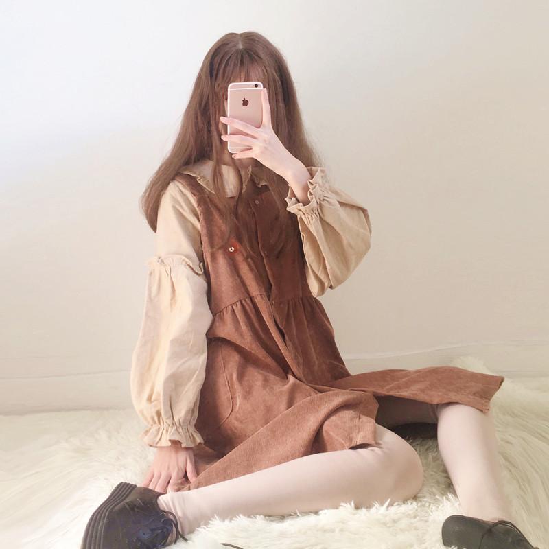 秋冬季女装日系软妹少女甜美背带韩版连衣裙两件套可爱套装裙学生
