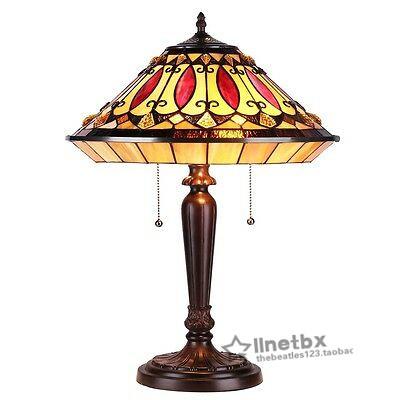 代购蒂芙尼风格红宝石色调琥珀彩色玻璃台灯客厅书桌卧室复古装饰