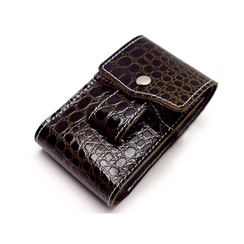 日本正品打火机套一体鳄鱼纹男士挂腰带真牛皮烟盒套复古创意460.00元包邮