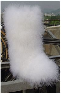 Hand sewn leather ostrich feather fur snow boots flat boots boots straight really sweet