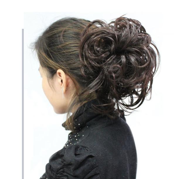 Wig flower hair bun hair braid retro pan head bride style fluffy natural hair replacement age reduction decoration