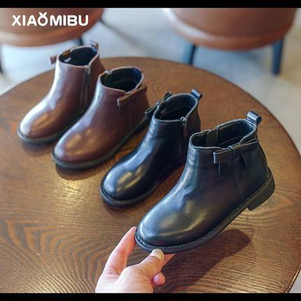 小童2019秋冬新款女童靴子儿童真皮平底时装靴女孩软底二棉单靴