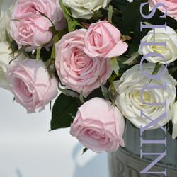 高档仿真假花过胶手感保湿玫瑰花客厅餐桌卧室摆件欧式花束