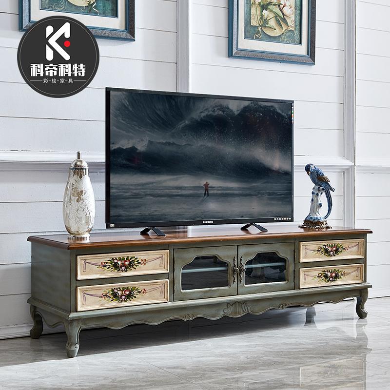 美式电视柜 实木茶几组合套装主卧地柜储物简约电视柜客厅小户型
