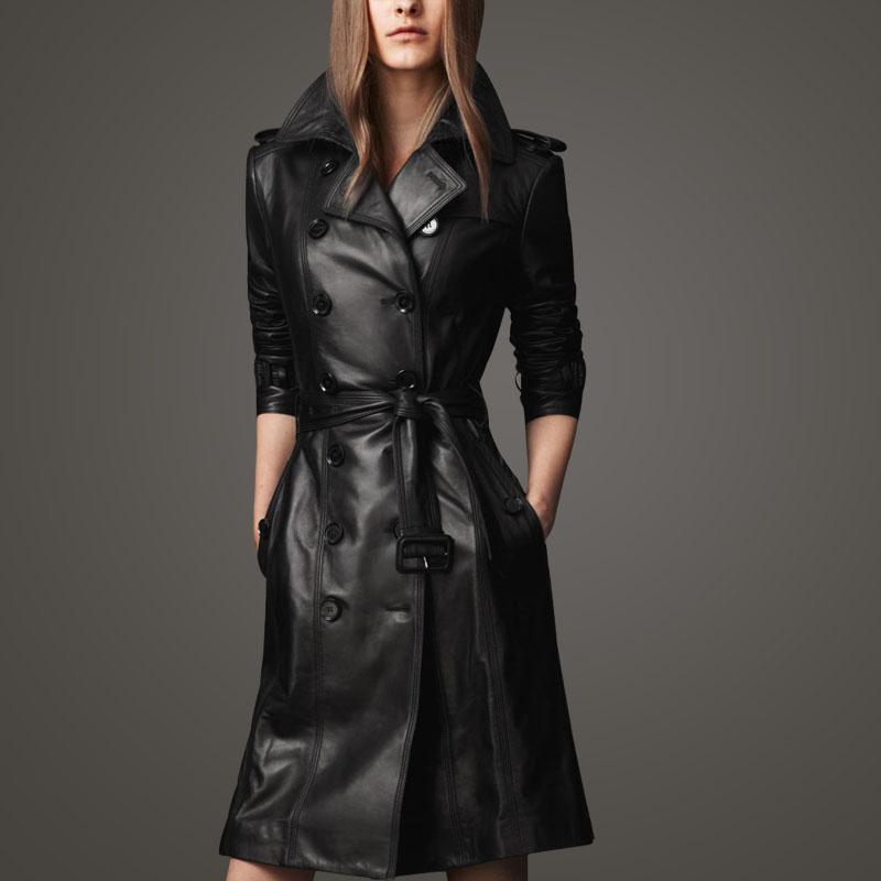 Европа ранней осенью большой новой роскоши в плюс размер дамы PU кожа тощий тонкие длинные кожаные куртки пальто