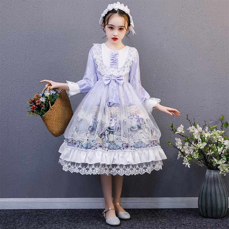 洛丽塔女童长袖连衣裙儿童公主蓬蓬裙子日系童装lolita洋装小女孩