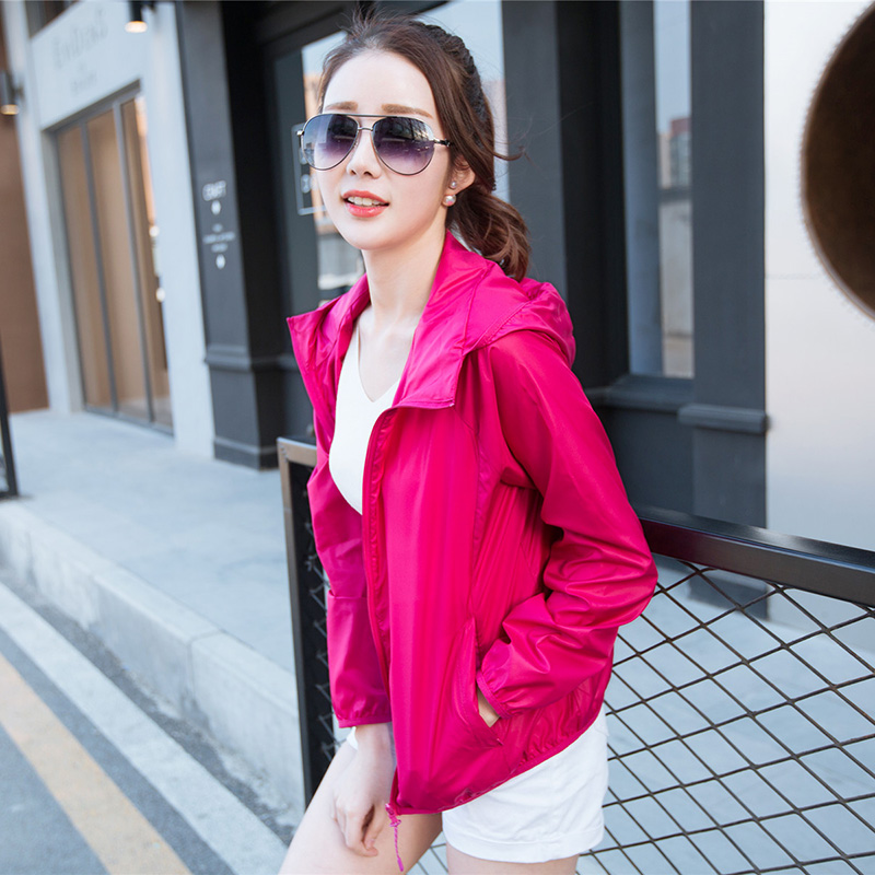 Sunscreen clothing womens summer 2016 ultra thin short hooded outdoor sunscreen shirt solid color and breathable, with students large size coat