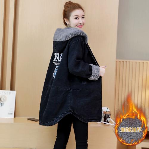 羊羔毛牛仔棉服外套女2020新款韩版秋冬季宽松加绒加厚棉衣中长款