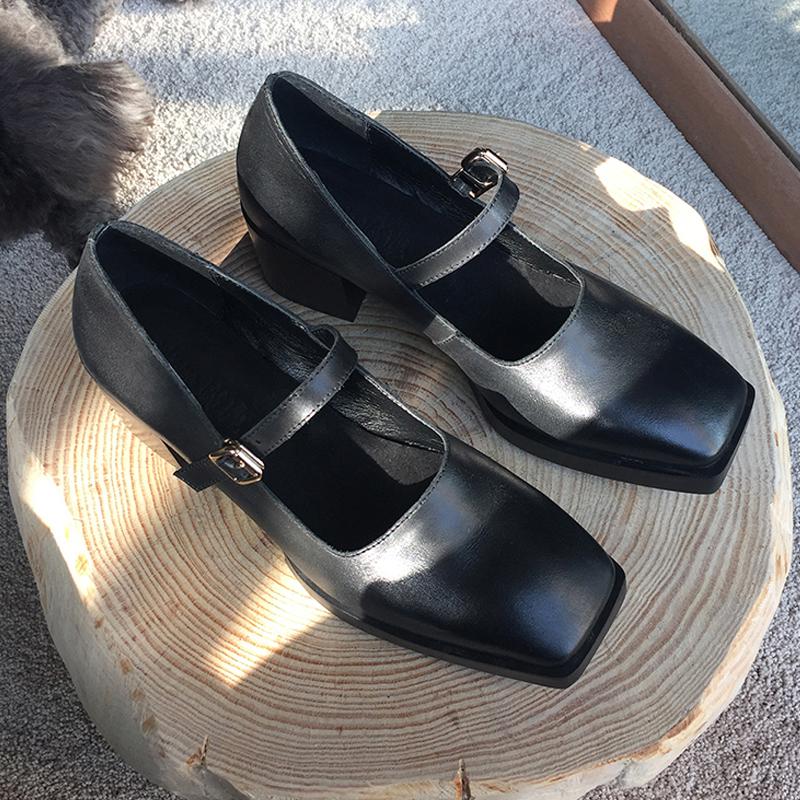 迷失麋鹿 方头中跟玛丽珍鞋女2019新款黑色一字扣复古真皮奶奶鞋