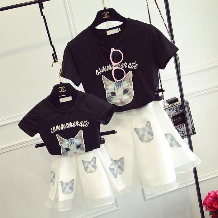 Детской одежды летний костюм мать и дочь в костюмах китти T футболки + органза юбка девочки установите 2017 новый волна