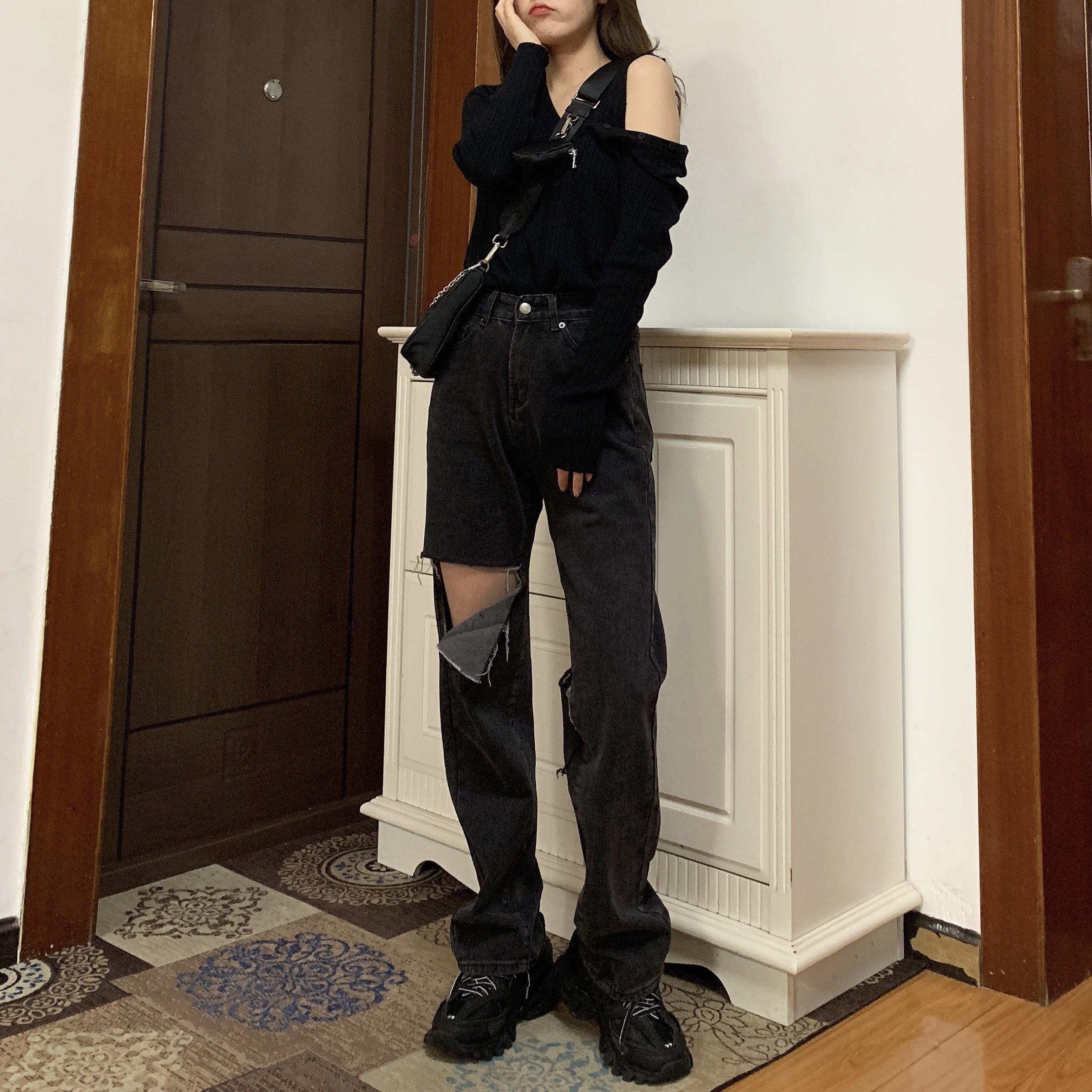 blacky2020春季新款破洞黑色牛仔裤