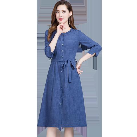 2020春装新款韩版文艺纯色收腰七分袖中长款仿牛仔连衣裙