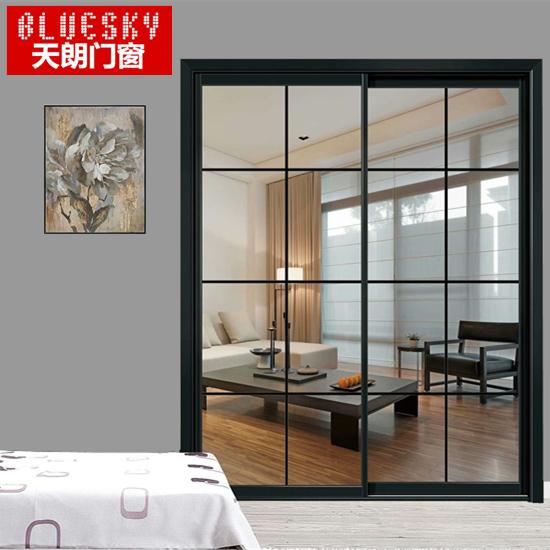 JX40窄边钛镁铝合金推拉吊门黑色北欧厨房门卫生间门移门隔断门