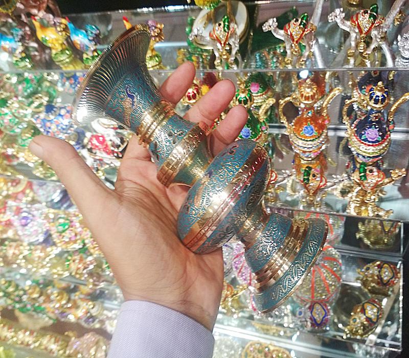 印度进口铜器花瓶手工工艺品民族铜雕民族特色工艺新品