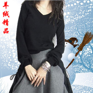 2014 new winter women s V neck lantern sleeve cashmere sweater bottoming solid Aka Slim sweater