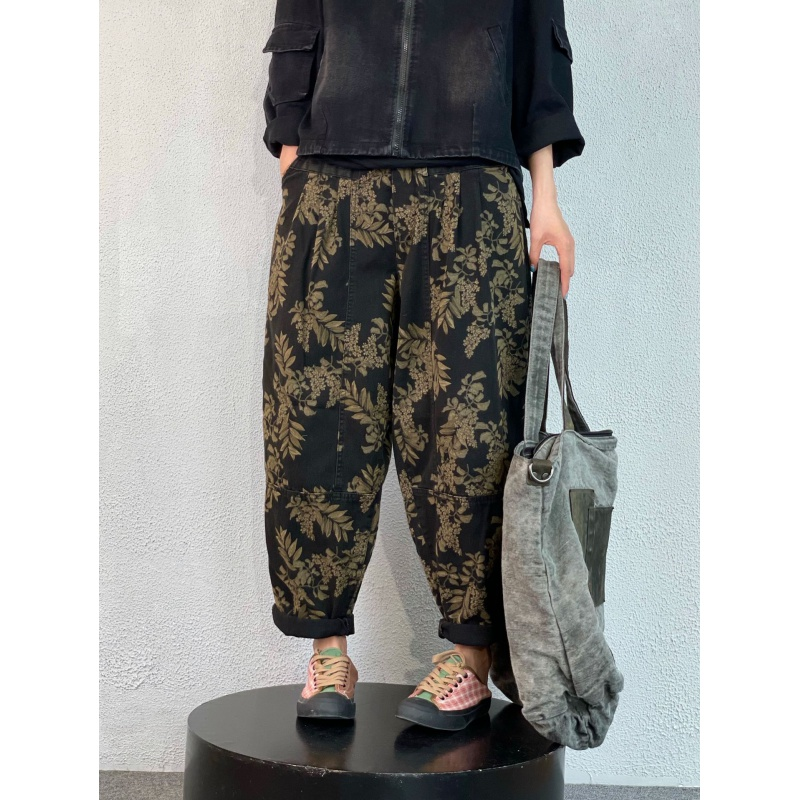 Xiaoer produces the new 21 autumn winter large womens pants, literary retro printing, loose casual cowboy Harlan wide leg pants