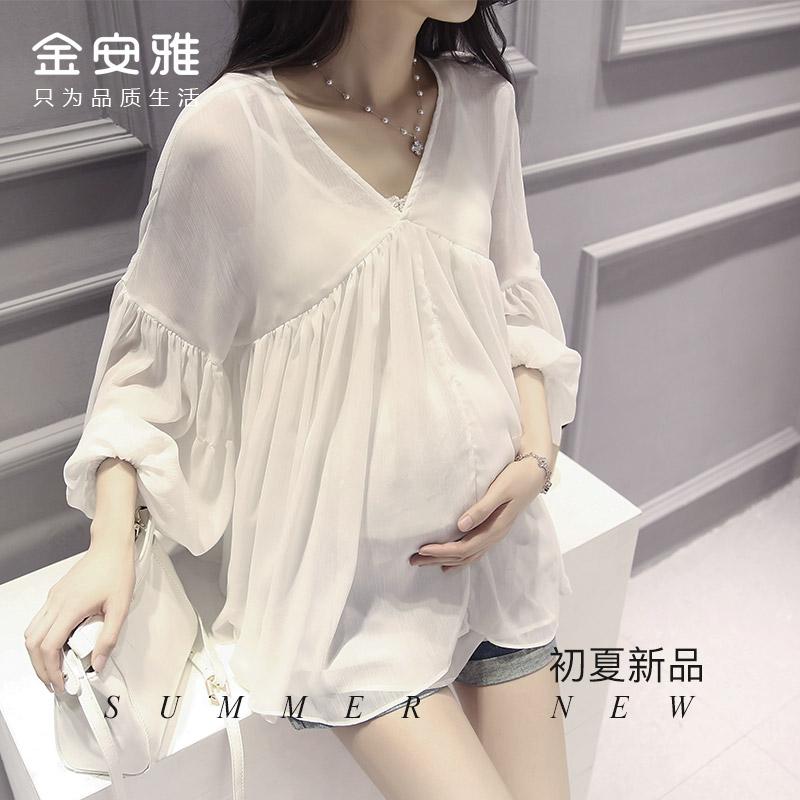 孕妇裙仙女范夏季两件套装雪纺衫V领灯笼袖上衣宽松休闲娃娃衬衫