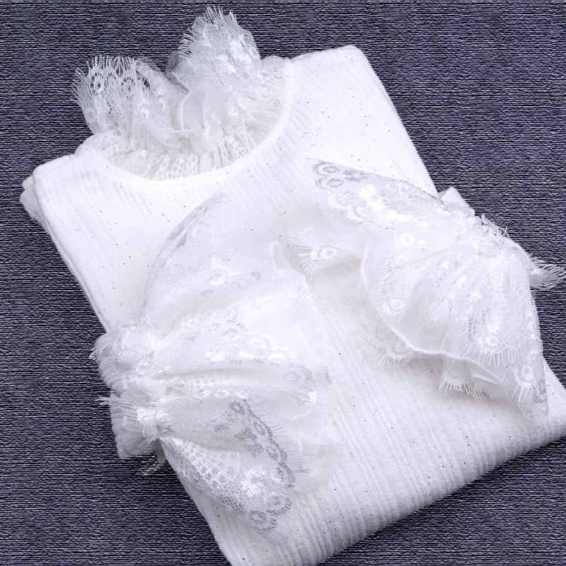 蕾丝衫长袖针织打底衫白色黑色女上衣春季花边领喇叭袖套头加大码