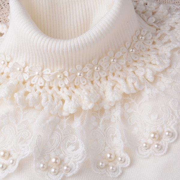 高领蕾丝花边毛衣加厚针织打底衫花朵女装精品套头修身促销白黑色