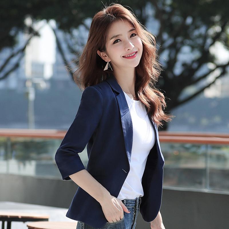 小西装女外套薄款2019夏季新款韩版修身棉麻七分袖休闲西服女短款