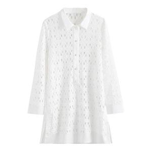 弥古白色蕾丝薄款衬衫连衣裙短裙