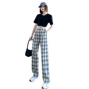 夏季宽松显瘦直筒九分格子裤子女裤