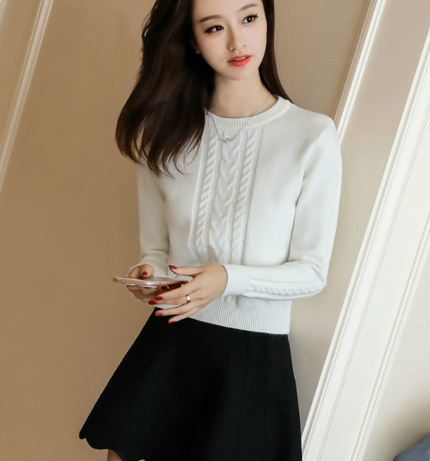 Autumn and winter thickened high waisted short sweater womens Pullover round neck waist closing waist versatile small small small knitted bottoming shirt