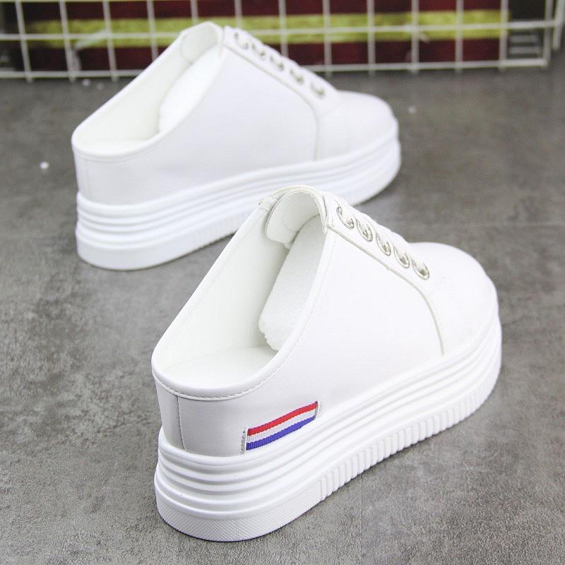 无后跟懒人半拖鞋女2019新款小白鞋(非品牌)
