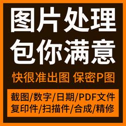 P图片处理PS修改字专业修图抠图批照片合成代做图制作PDF文件水印