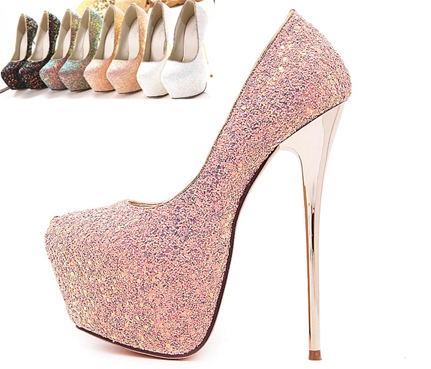 恨天高超高跟鞋超细跟欧美模特走秀性感夜店亮片婚鞋16cm单鞋女
