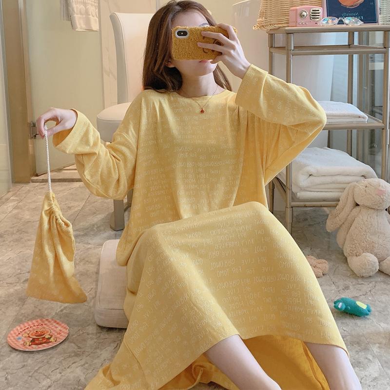 【亿兴】春季新款韩版坑条纯棉长袖睡裙女睡衣 - 20222# 均码