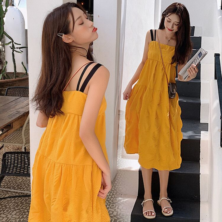 Pregnant womens summer dress covering pregnant belly foreign style pregnant womens summer dress hot and hot mothers sleeveless suspender long dress summer