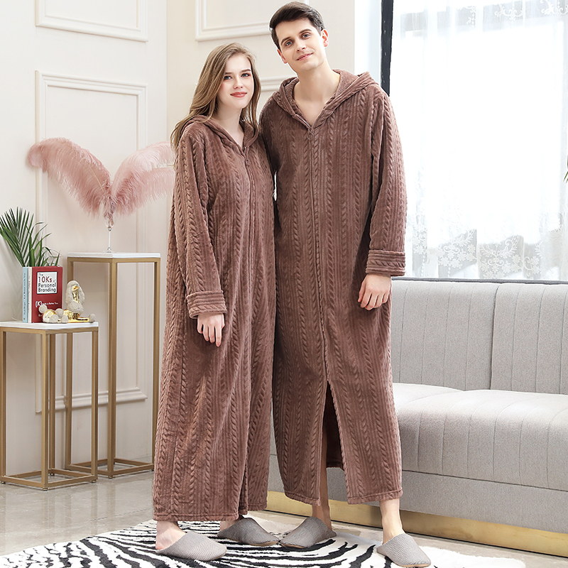 Autumn and winter couples hooded coral velvet Nightgown womens thickened lengthened mens flannel bathrobe 200kg pajamas