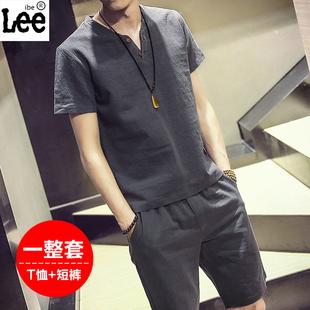 IBELEE爸爸装唐装男青年夏装男士短袖亚麻休闲套装中年中国风复古