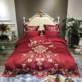 新中式风古典进口宫廷刺绣酒红色结婚60支长绒棉纯棉四件套双人床