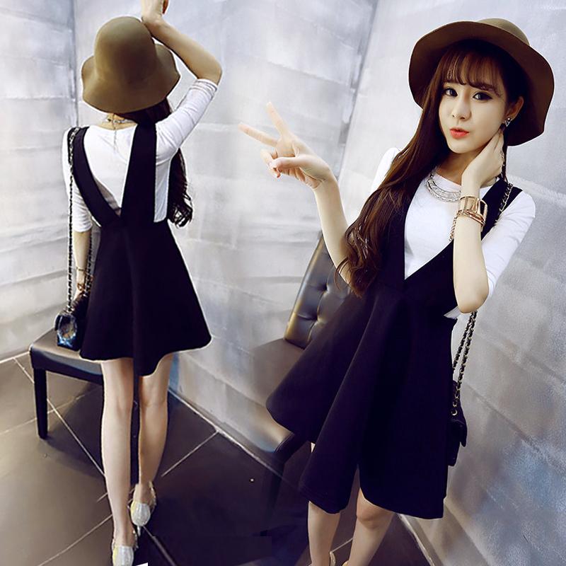 2017 осенью и зимой новый корейский талия была тонкий студент ремень платье женщина V воротник жилет a слово юбка весна