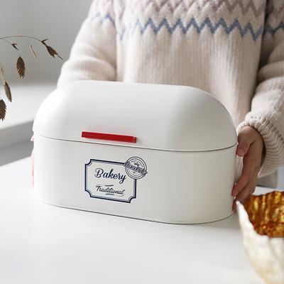 KL北欧ins餐厅摆设零食收纳面包箱镀锌铁皮加厚田园储物盒圆顶盖