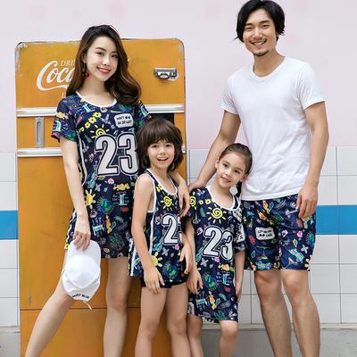 亲子游泳衣女父母女母子新款运动平角分体三件套温泉男女童家庭装
