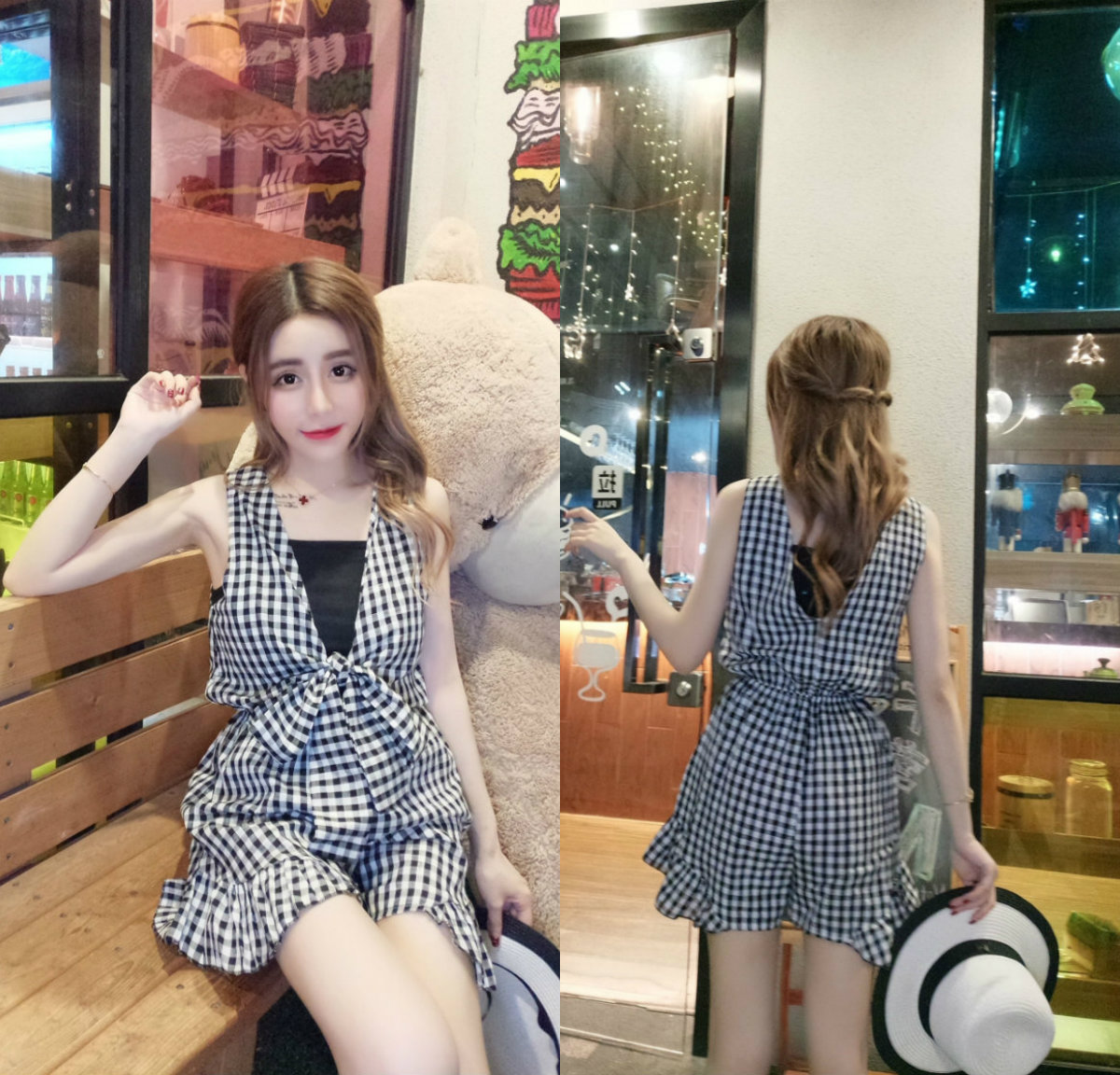 7242 # video real price 2018 summer Korean Plaid Bow Elastic Waist sleeveless open back one-piece shorts + sling