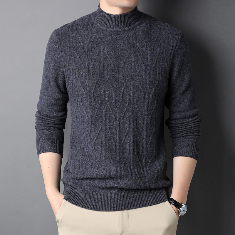 Woodpecker sweater half high crew neck autumn winter solid color Pullover mens sweater casual sweater thickened warm coat