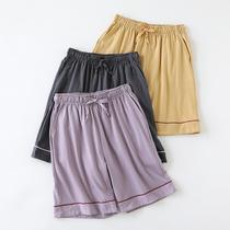 针织纯棉睡裤女夏季家居短裤薄款居家裤夏天可外穿宽松大码五分裤