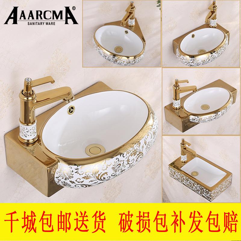 Небольшой квартира континентальный золотой мини керамика стена стиль мыть бассейн ванная комната мойте руки бассейн треугольник вешать бассейн балкон бассейн