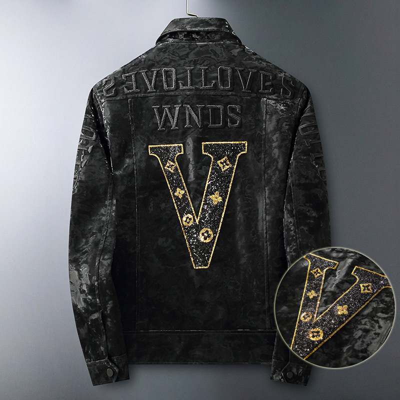 Leather new mens European goods 2020pu leather jacket letter Sequin embroidery European station mens Lapel coat mens fashion