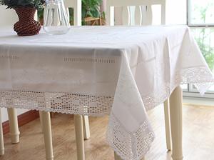 高档美式蕾丝餐桌布手工抽纱刺绣桌布冰箱电视机盖布白色茶几巾