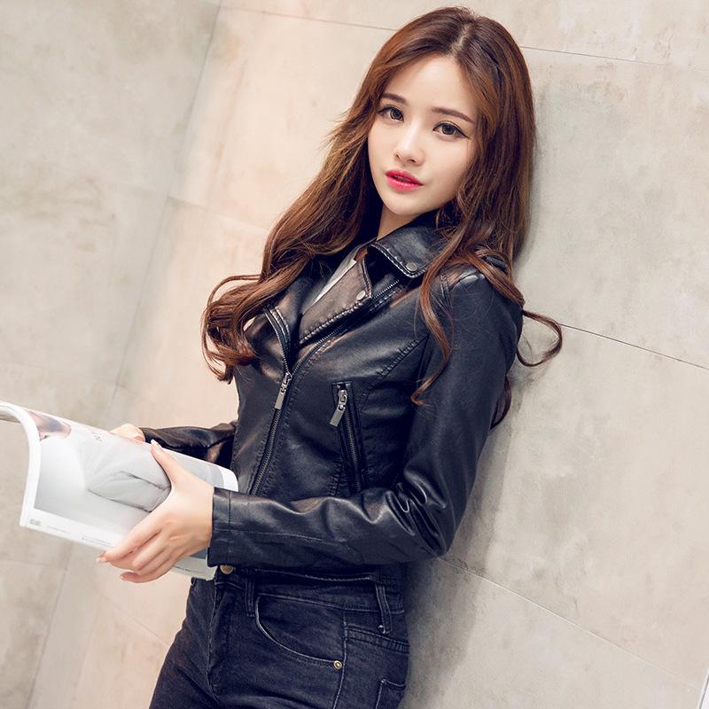 European station spring 2020 leather coat Women Short fashion casual large size black thin womens small jacket