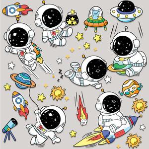 卡通宇航员拉杆箱笔记本电脑贴画